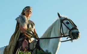 Обои cinema, film, strong, Hippolyta, Connie Nielsen, Themyscira, horse, sword, gauntlet, armor, movie, queen, Wonder Woman, ...