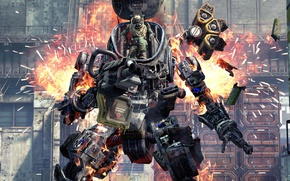 Картинка explosion, fire, gun, game, robot, weapon, war, man, machine gun, spark, combat, Titanfall, heavy weapon, …
