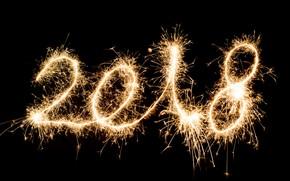 Картинка фон, черный, искра, Новый год, 2018