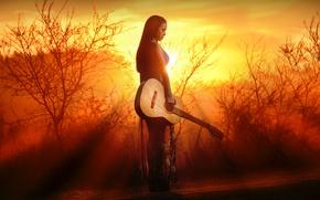 Обои закат, девушка, гитара