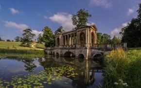 Обои мост, река, ручей, Англия, беседка, Palladian Bridge, Бакингемшир, Stowe Park