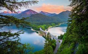 Обои весна, дорога, лето, лес, горы, мост