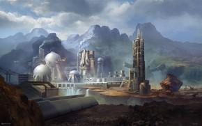 Картинка горы, водопад, плотина, космодром, Station