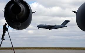 Картинка Boeing, ВВС США, военно-транспортный самолёт, C-17, Globemaster III, американский стратегический