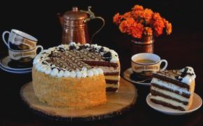 Картинка чашки, торт, крем, кусок