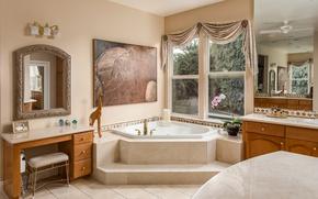 Обои дизайн, ванная, ванна