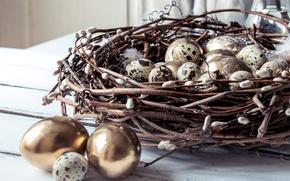 Картинка ветки, весна, перья, Пасха, гнездо, golden, happy, верба, spring, Easter, eggs, decoration, перепелиные яйца, яйца …
