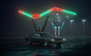 Обои car, Dodge, Challenger, night, neon, R/T, gas station, Neon Gas
