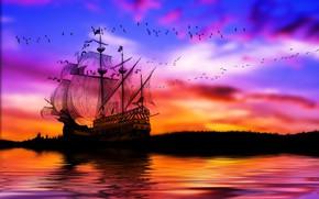 Картинка море, небо, птицы, корабль, паруса, штиль