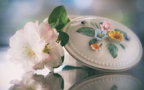 Обои шкатулка, цветки, отражение, стиль