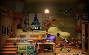 Обои trainroom, упорядоченный хаос, The Bedroom Project, игрушки