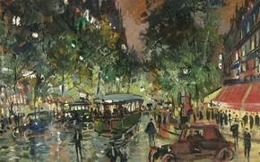 Картинка ночь, улица, дома, картина, городской пейзаж, Константин Коровин, Русский Бульвар Ночью