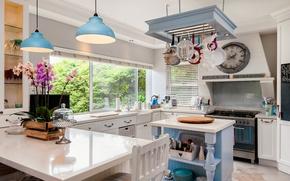 Обои дизайн, лампа, декор, орхидея, кухня, мебель