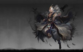 Картинка фентези, магия, арт, парень, ворон, xio Zhu, 山海大厥 鸦