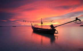 Картинка море, волны, пляж, лето, небо, закат, берег, лодка, summer, beach, sky, sea, sunset, pink, seascape, …