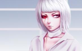 Картинка girl, blood, monster, woman, anime, pretty, asian, manga, japanese, oriental, asiatic, red eye, Tokyo Ghoul, …