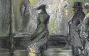 Обои жанровая, 1903, люди, витрина, улица, Everett Shinn, рисунок, Эверетт Шинн, Window Shopping