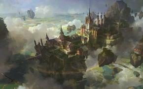 Обои пейзаж, острова, облака, птица, замок, город, магия, пентаграмма, летающий