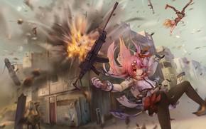 Картинка оружие, девушки, аниме, арт, Girls Frontline
