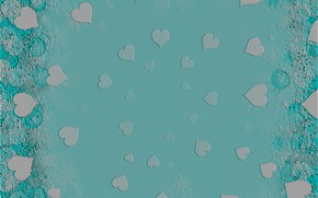 Картинка абстракция, фон, текстура, сердечки, голубой фон