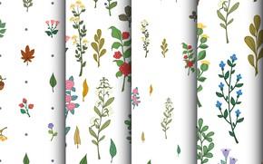 Картинка цветы, фон, текстура, patterns, веточки, floral, seamless