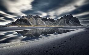 Картинка море, берег, Vestrahorn Islande