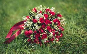 Картинка трава, розы, букет, красные, свадьба, bouquet, wedding, шикарный