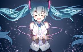 Картинка аниме, девочка, Вокалоид, синие волосы