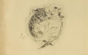 Картинка дружба, котята, братья, спят, 1929, Цугухару, Фудзита, Книга Кошек