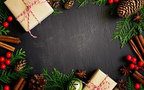 Картинка Новый Год, Рождество, christmas, balls, merry christmas, gift, decoration, xmas, fir cone, fir tree