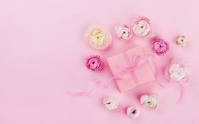 Картинка цветы, розовый, праздник, подарок, лента, pink, свадьба, декор, gift box, Julia Sudnitskaya