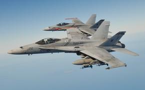 Картинка полет, истребитель, многоцелевой, Hornet, CF-18