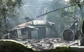 Картинка деревья, здание, крушение, вертолёт, Black Hawk