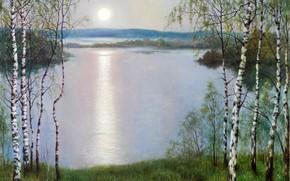 Картинка трава, солнце, озеро, берёзы, KonstantinDverin