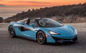 Картинка закат, McLaren, суперкар, 2018, Spider, 570S