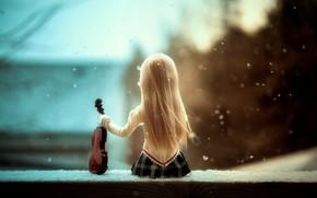 Картинка скрипка, кукла, Serenade of snow