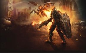 Обои Гладиатор, Total Domination, Тучи, Валькирия, Тяжелая броня, Руины, Огонь, Крот, Правила войны, Боевая Машина, Авианосец, ...