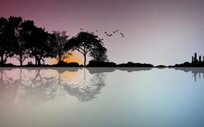 Обои закат, пейзаж, деревья, силуэт, вектор, птицы