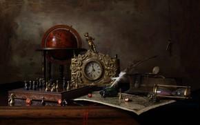 Обои перо, часы, ключ, шахматы, статуэтка, натюрморт, глобус, чернильница