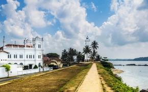 Картинка море, облака, пальмы, побережье, маяк, Шри-Ланка, Galle Fort