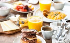 Картинка кофе, завтрак, сыр, сок, блюда, омлет, панкейк