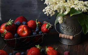 Картинка цветы, ягоды, букет, фрукты, натюрморт