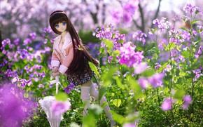 Картинка цветы, зонтик, игрушка, кукла
