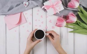 Картинка праздник, подарок, тюльпаны, wood, конверт, coffee cup, decoration, Mothers day