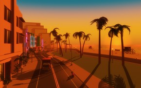 Обои Закат, Море, Пляж, Майами, Город, Неон, Улица, Машины, Графика, Electronic, Vice City, Synthpop, Retrowave, Synthwave, ...