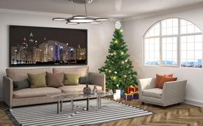 Картинка дизайн, диван, интерьер, подушки, Новый Год, люстра, ёлка