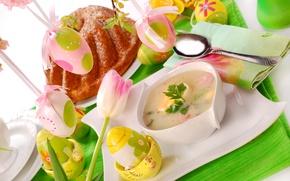 Картинка цветы, стол, яйца, Пасха, суп, кулич, декор, сервировка