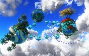 Картинка небо, вода, облака, фантазия, дерево, птица, мир, планеты, ребенок, книга, сферы
