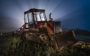 Картинка свет, ночь, трактор