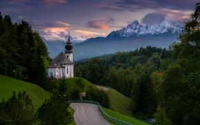 Картинка дорога, лес, горы, Германия, Бавария, церковь, Germany, Bavaria, Bavarian Alps, Баварские Альпы, Berchtesgaden, Берхтесгаден, гора …